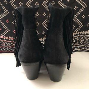 Sam Edelman Shoes - Sam Edelman Black Suede Fringe Ankle Boots 8.5